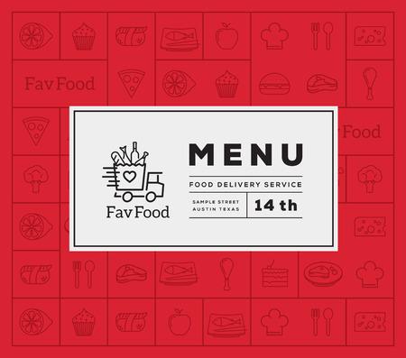 Ilustración de Favorite Food Delivery Abstract Vector Logo And Menu Cover with Line Style Icon Pattern. Good for Restaurant or Fast Food, etc. - Imagen libre de derechos