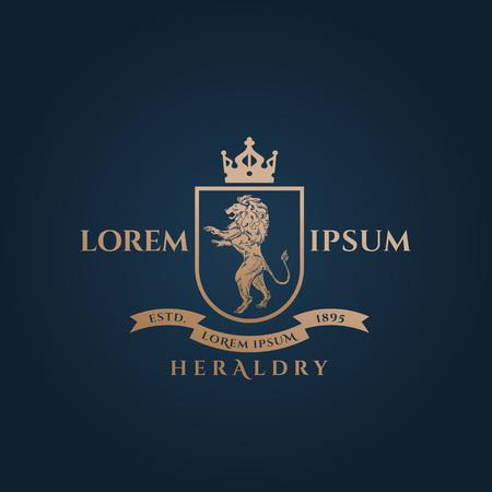 Ilustración de Heraldry Crest Abstract Vector Sign, Symbol or Logo Template. Golden Lion Sillhouette with Shield, Banner, Crown and Classy Retro Typography. Vintage Vector Emblem. Isolated. - Imagen libre de derechos
