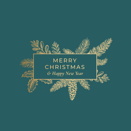 Ilustración de Merry Christmas Abstract Botanical Card with Rectangle Frame Banner and Modern Typography. Premium Green Background and Golden Greeting Sketch Layout - Imagen libre de derechos