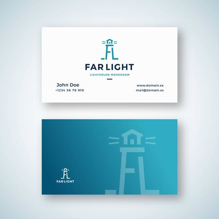 Illustration pour Far Light Abstract Vector Sign or Business Card Template. Searchlight Tower Symbol from A and L letters with Typography. Lighthouse Building Monogram. Premium Stationary Realistic Mock Up. - image libre de droit