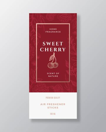 Illustration pour Cherry Home Fragrance Abstract Vector Label Template. Hand Drawn Sketch Berries, Flowers, Leaves Background and Retro Typography. Premium Room Perfume Packaging Design Layout. Realistic Mockup. - image libre de droit