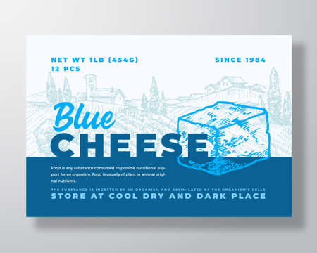 Illustration pour Dairy Food Label Template. Abstract Vector Packaging Design Layout. Modern Typography Banner with Hand Drawn Blue Cheese Cube and Rural Landscape Background. Isolated - image libre de droit