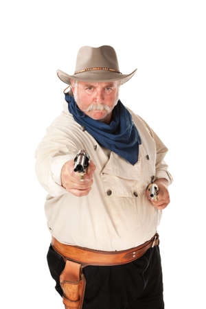 Big cowboy pointing pistols on white background