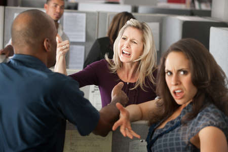Chaos between a group of coworkers in office