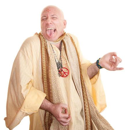 Crazy bald guru plays air guitar over white background