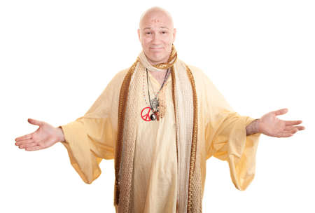 Smiling guru with open arms over white background