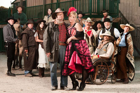 Tough old west gangster with prostitute and group of people