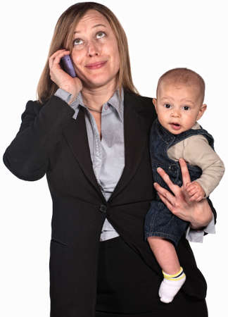 Female worker on phone holding baby over white background