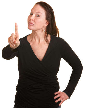 Annoyed white lady on isolated background wagging finger