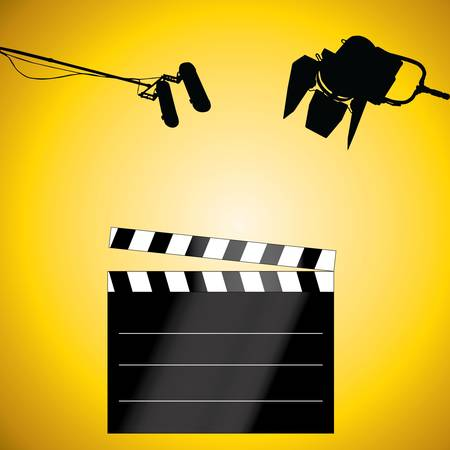 Clapboard with a microphone and light