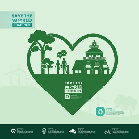 Ilustración de Save the world together green ecology vector illustration. - Imagen libre de derechos