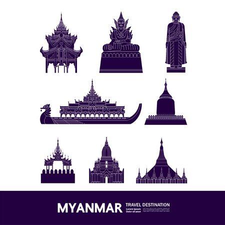Illustration pour Myanmar travel destination grand vector illustration. - image libre de droit