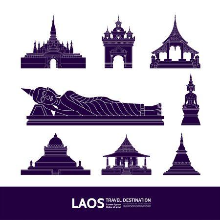 Illustration pour Laos travel destination grand vector illustration. - image libre de droit