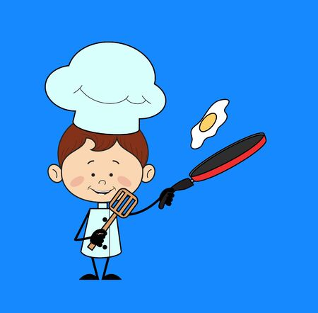 Illustration pour Kitchen Character Chef - Preparing Food - image libre de droit