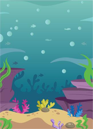 Illustration pour Underwater Aquatic Scene with Cute Adorable Fishes Water Corals Plants Rocks Sand. Ocean Background Scene. Underwater Elements Set. Kids Book Fishes Illustration Hand Drawn. Fishes undersea. Aquarium. - image libre de droit