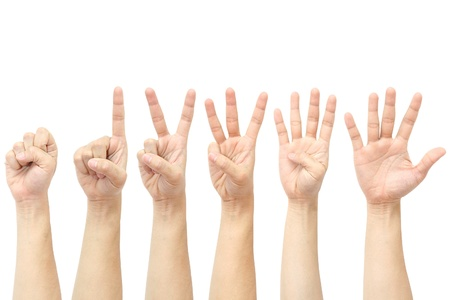 Photo for hands counting from 0 to 5  - Royalty Free Image
