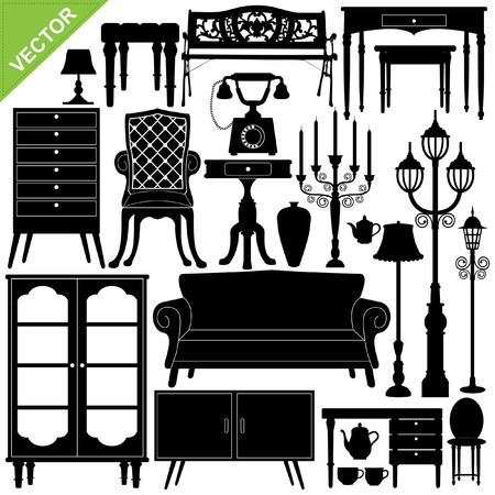 Set of antique furniture silhouettes