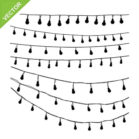 Hanging light bulbs silhouette vector
