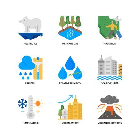 Illustration pour Climate Change icons set - image libre de droit