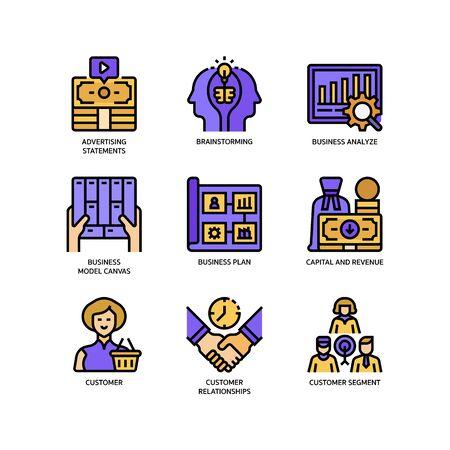 Ilustración de Business model canvas icons set - Imagen libre de derechos