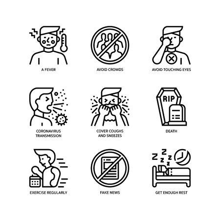 Illustration pour Covid-19 icons set - image libre de droit