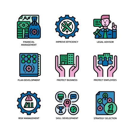 Illustration pour Business continuity plan icons set - image libre de droit