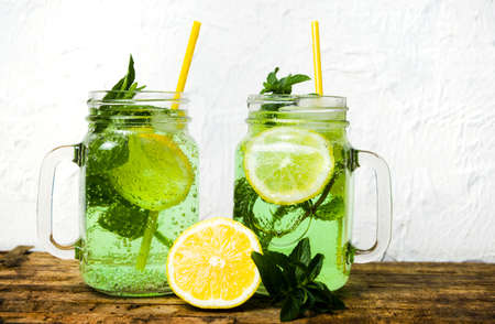 Foto per Cold Lemonade with marijuana in a glass isolated - Immagine Royalty Free