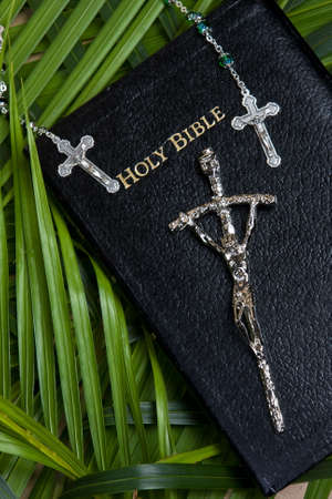 close up of bible with rosary and cross with palm leaf