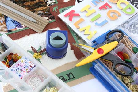 Photo pour A selection of scrapbooking / craft materials - image libre de droit