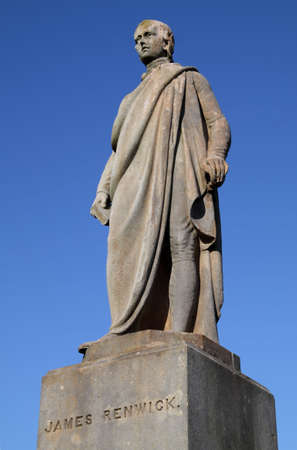 Statue of the 17th century Covenanting minister and field preacher James Renwick in Stirling Valley Kirkyard. Renwick objected strongly to state control over the Scottish church and, like other dissenting churchmen of his era, was ultimately executed.