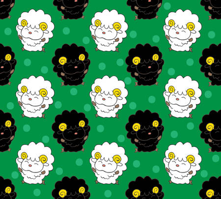 Seamless pattern with cute happy sheep. Cartoon style background.