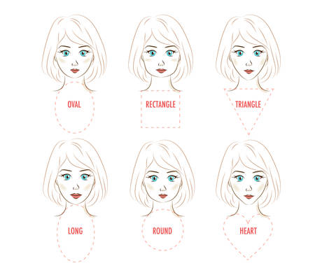 Ilustración de Woman face proportion infographic. Vector set of six different face shapes. Forms of a female face - rectangle, triangle, round, oval, heart, long. Illustration for make up artists, hairdressers, stylists - Imagen libre de derechos