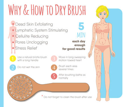 Skin dry brushing infographic. Instruction layout for health, beauty, spa business & media