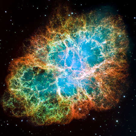 Photo for Crab Nebula - part of the constellation Taurus  Its a remnant of a supernova in the year 1054  Its core is a strong pulsar neutron star  Retouched and cleaned version of original image from NASA STScI - Royalty Free Image