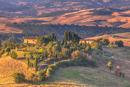 Tuscan Farms in the Early Morning Countryside