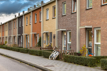 Modern Terra Colored Middle Class Terraced Houses in the Netherlands, Europe
