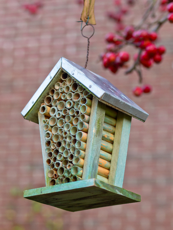 Insect house in an ecological garden