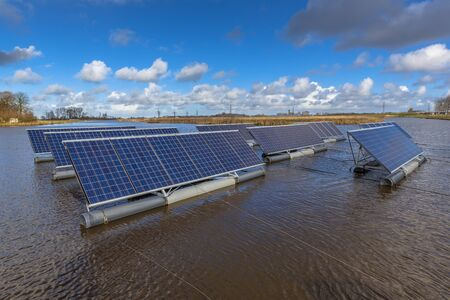 Photo for Solar panels floating on lakes can represent a serious alternative to ground mounted solar systems - Royalty Free Image
