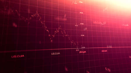 Foto de Stock market graph global crisis couased by corona virus SARS-CoV-2, source of COVID-19 pandemic disease. American market index in march 2020, industry in recession. - Imagen libre de derechos