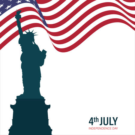Vector illustration 4th of July greeting card with ribbon in background in United States national flag colors and empty space for marketting Happy Independence Day