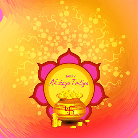 Illustration for Indian Religious Festival Akshaya Tritiya Background Template Design with Floral Ornament - Akshaya Tritiya Background Design. Indian festival where people buy Gold jewellery vector illustration - Royalty Free Image