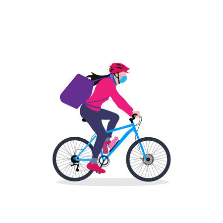 Illustration pour A delivery girl on cycle with backpack driving through an urban area vector illustration - image libre de droit
