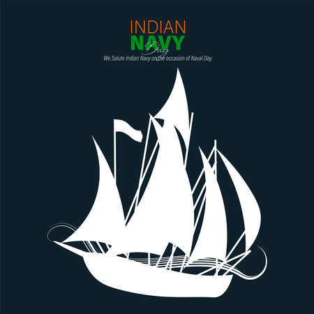 Illustration pour Vector Illustration of Indian Navy Day. December 4. Soldier Saluting Flag. - image libre de droit