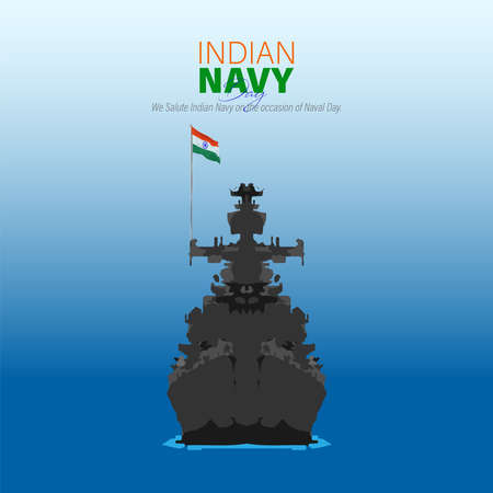 Illustration pour Vector Illustration of Indian Navy Day. December 4. We salute Indian Navy on the occasion of naval day. - image libre de droit