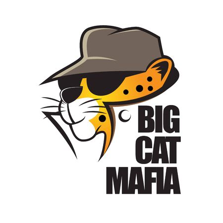 Illustration pour Big Cat Mafia cartoon. can be used for tshirt printing, logo, book cover, poster or any other purpose. - image libre de droit
