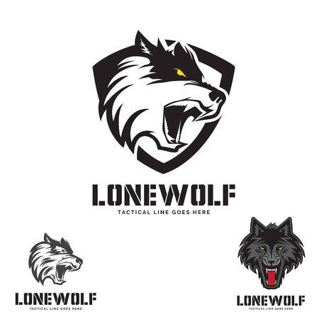 Illustration pour Grey Wolf head  theme. logo set. vector - image libre de droit