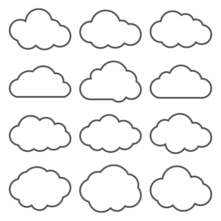 Illustration pour Cloud shapes thin line icons set. Cloud symbols. Collection of cloud pictograms. Vector icons of a clouds in thin line style. EPS8 vector illustration. - image libre de droit