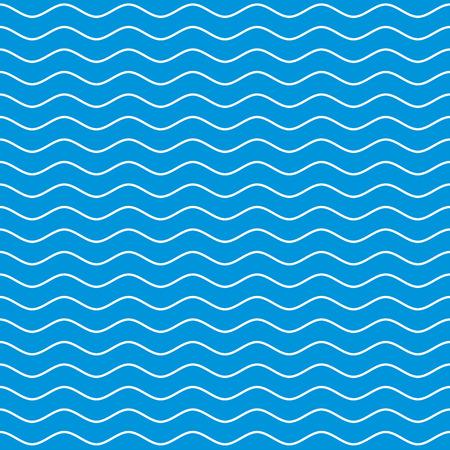 Illustration pour Wavy line seamless pattern. White wave lines on blue background. Ripple marine texture. Waviness vector graphics. - image libre de droit