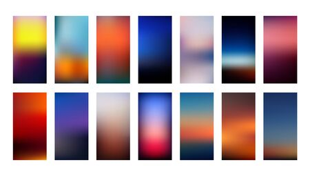 Illustration pour Set of gradient mesh backgrounds in blurry bright colors inspired by nature sunsets. Abstract colorful smooth templates with out of focus effect in vertical layout. Vector in EPS8 without transparency - image libre de droit