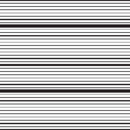 Illustration pour Horizontal striped seamless pattern. Repeating texture with black parallel straight lines on white background. Lined vector illustration. - image libre de droit